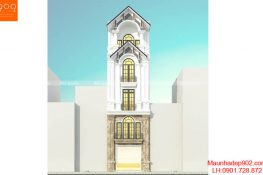 Phối cảnh 1: Mẫu thiết kế nhà phố 5 tầng tân cổ điển ở Hạ Long