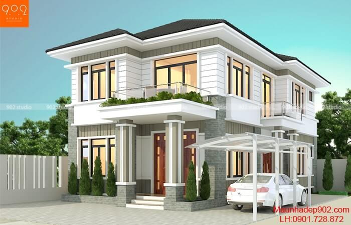 Mẫu nhà 2 tầng đẹp hiện đại - Mẫu 2