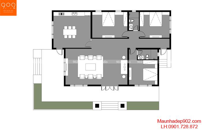 Mặt bằng công năng mẫu biệt thự nhà vườn 1 tầng mái thái - BT175