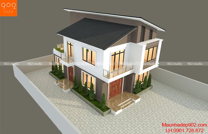 Phối cảnh 4: Vẻ đẹp hiện đại từ mẫu nhà 2 tầng mái chéo