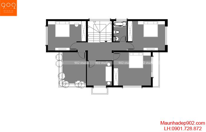 Mặt bằng tầng 2: Mẫu nhà 2 tầng mái chéo diện tích 120m2
