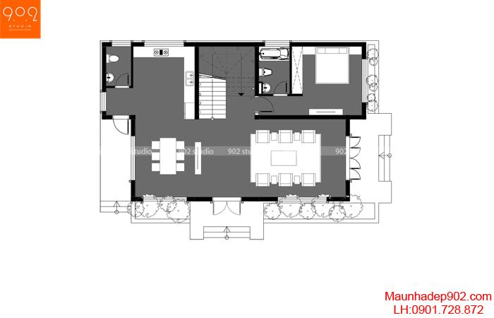 Mặt bằng tầng 1: Mẫu nhà 2 tầng mái chéo diện tích 120m2