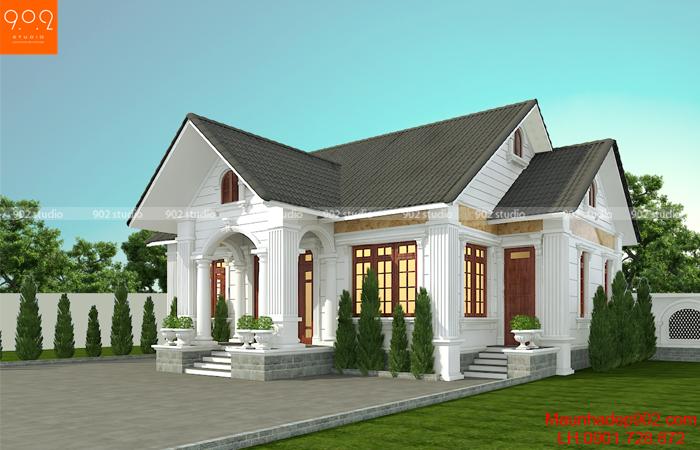 Phối cảnh 2: Thiết kế nhà mái thái 1 tầng 3 phòng ngủ - BT199