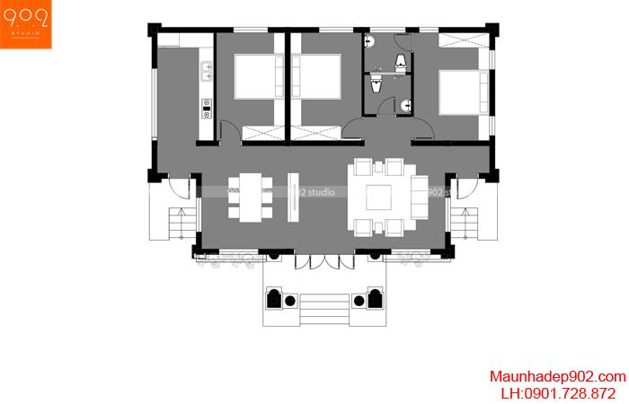 Mặt bằng công năng: Nhà mái thái 1 tầng 3 phòng ngủ đẹp