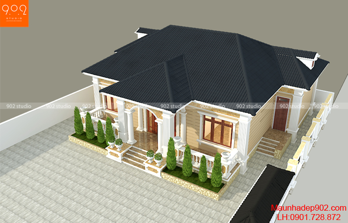Mẫu nhà 1 tầng đẹp 3 phòng ngủ - BT200