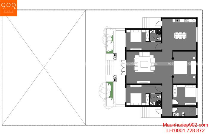 Mặt bằng tầng 1 - Mẫu nhà 1 tầng đẹp 2019