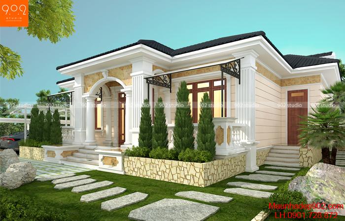 Thiết kế biệt thự 1 tầng đẹp nhất 2020 - BT201
