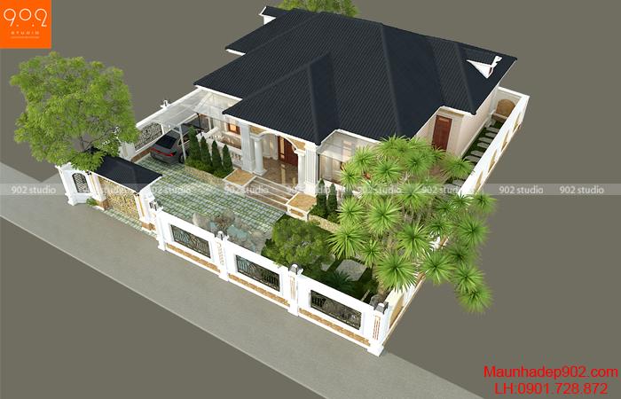 Hình ảnh biệt thự 1 tầng đẹp nhà anh Khỏe - BT201