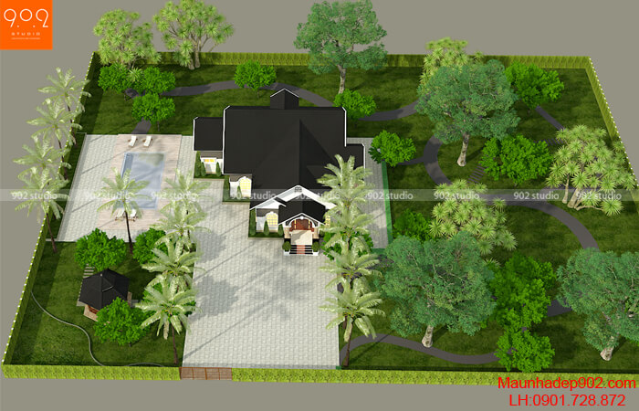 Phối cảnh tổng thể biệt thự nhà vườn 1 tầng đẹp - BT204