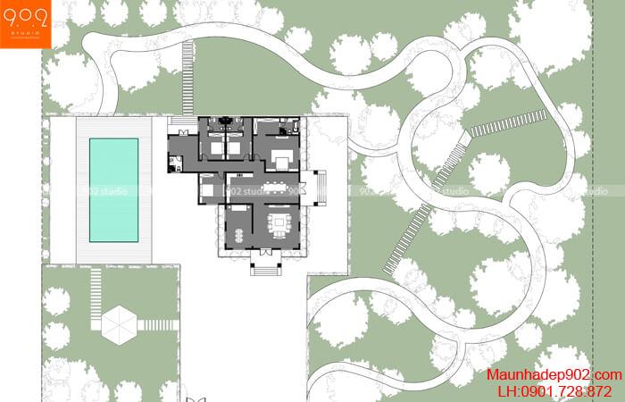 Mặt bằng biệt thự nhà vườn 1 tầng đẹp - BT204