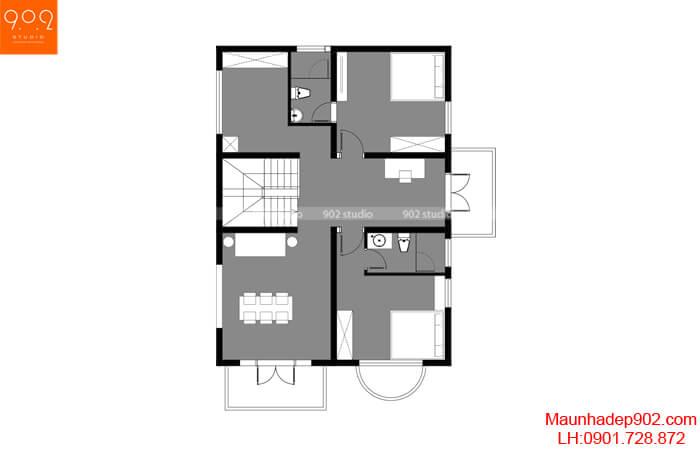 Phối cảnh tầng 2 biệt thự 2 tầng - BT205