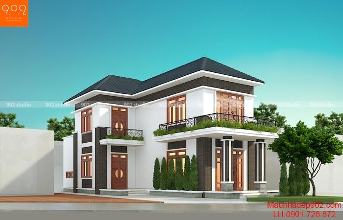 Biệt thự hai tầng mái thái đẹp tại Phú Thọ - BT206