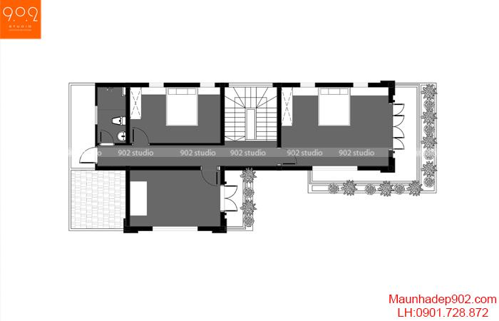 Bản vẽ thiết kế biệt thự 2 tầng mái thái- BT206