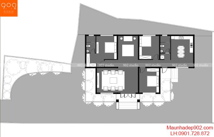 Thiết kế biệt thự 1 tầng: Nhà vườn đẹp hiện đại - BT207