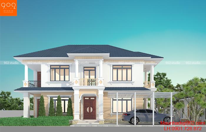 Thiết kế biệt thự 2 tầng: Mái thái tân cổ điển cực đẹp - BT208