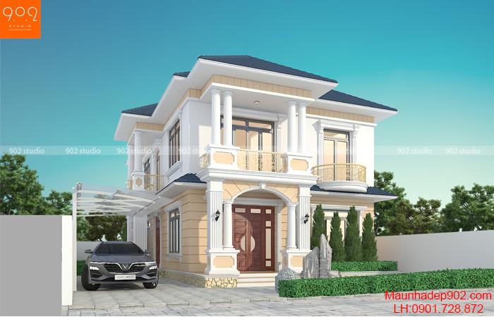 Thiết kế biệt thự 2 mái thái tân cổ điển - BT208