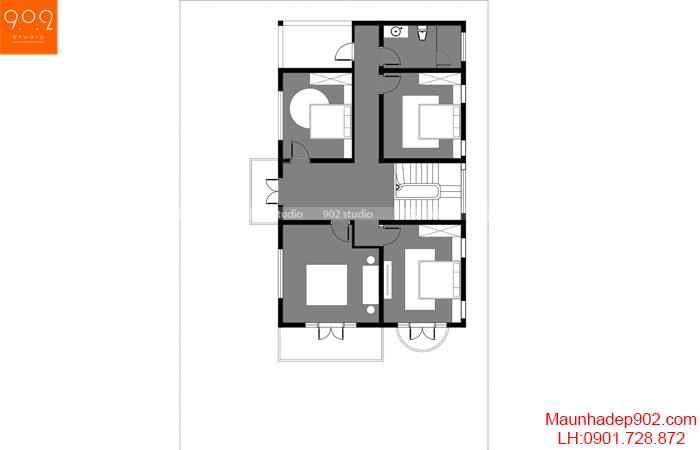 Mặt bằng tầng 2 biệt thự 2 tầng tân cổ điển mái thái- BT208