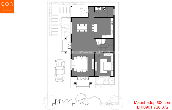 Mặt bằng thiết kế biệt thự 2 tầng tân cổ điển mái thái- BT208