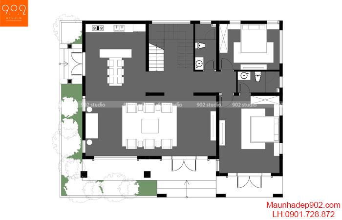 Mặt bằng tầng 1 - Thiết kế nhà 2 tầng tại Phú Thọ